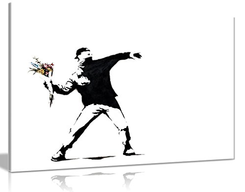 (Banksy Flower Thrower Canvas Wall Art Picture Print (36x24in))