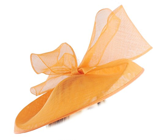 Hats By Cressida Gorgeous Barn Owl Orange Large Saucer Bow Ascot Derby Wedding Hat by Hats By Cressida