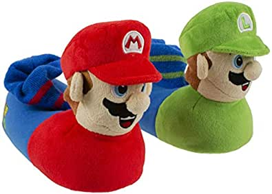 Super Mario Brothers Mario and Luigi Slippers for Kids, Nintendo, Scuff Clog Slip on, Little Kid/Big Kid Sizes 11 to 5 Green Size: Large/Size 2-3