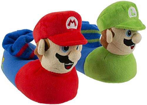 Super Mario Brothers Mario and Luigi Socktop Slipper for Kids, with Classic Sound Chip, Size 2-3]()