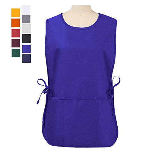 VEEYOO Chef Cobbler Apron with 3 pockets, Polyester Cotton, Art Smock Aprons for Unisex Adult Men Women, Royal Blue, Plus Size Large 23x32 inches ()