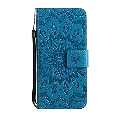 iPhone X Sunflower Wallet Case,Aulzaju iPhone X 5.8 Inch Luxury Synthetic PU Leather Shockproof Credit Card Kickstand Flower Case for iPhone X