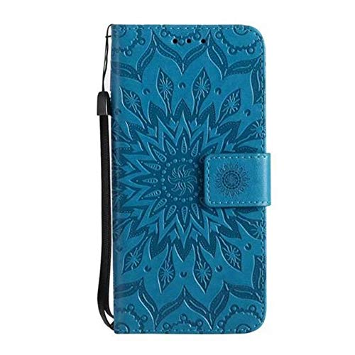 Price comparison product image iPhone XS / X Sunflower Wallet Case, Aulzaju iPhone XS / X 5.8 Inch Luxury Synthetic PU Leather Shockproof Credit Card Kickstand Flower Case for iPhone XS / X-Blue