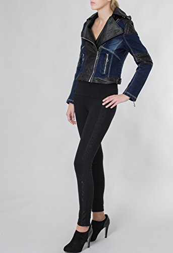 Caspar Cuir Jeans Femme Jean Perfecto Veste Bleu Courte Pour En Jck003 Avec amp; Noir Imitation Applications FqrxRFaw
