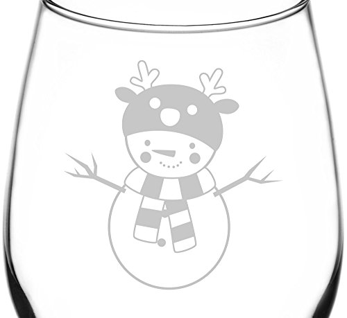 (Reindeer) Decorated Christmas Holiday Snowmen Inspired - Laser Engraved 12.75oz Libbey All-Purpose Wine Taster Glass -