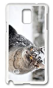 MOKSHOP Adorable cute cat in snow Hard Case Protective Shell Cell Phone Cover For Samsung Galaxy Note 4 - PC White