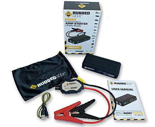 NEW 2019 Rugged Geek RG1000 INTELLIBOOST 1000A Portable Auto Jump Starter and Power Supply with LCD Display. USB Laptop Charging. Emergency Auto Jump Box for Cars, Trucks, SUVs, and Motorbikes. by RUGGED GEEK (Image #4)
