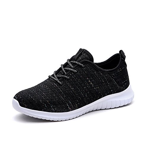 KONHILL Women's Lightweight Sneakers Gold Threads Casual Athletic Sport Walking Running Shoes, Black, 36 Athletic Casual Tennis Shoes