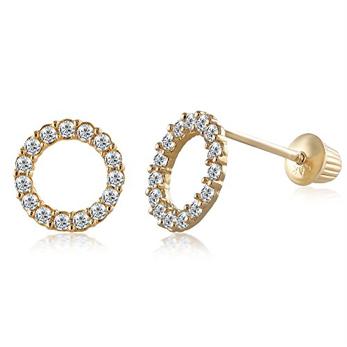 Balluccitoosi 14k Gold Tiny Stud Earrings for Women & Girls - Real Hypoallergenic, Small & Minimalist (14k Open Circle Pave CZ Stud Earrings) ()