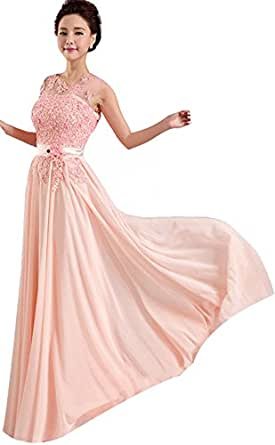 Pink Long Formal Evening Prom Party Dress Bridesmaid