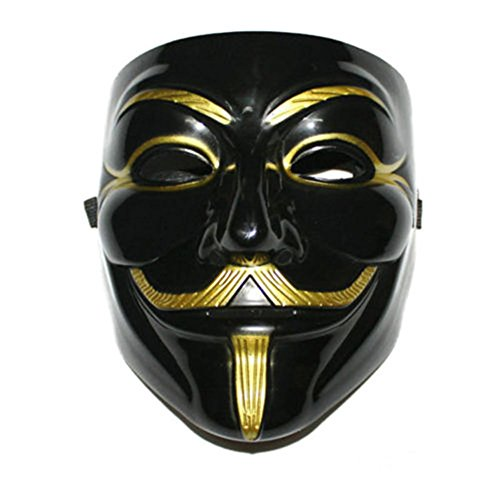 Halloween Costumes Perth (Gooday 2 Pcs V for Vendetta Mask Anonymous Guy Fawkes Mask Cosplay Costume Halloween Party Face)