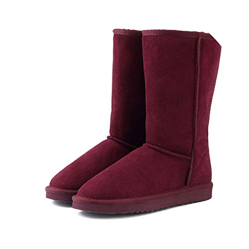 Genuine Leather Fur Snow Boots Women Top Boots Winter Boots for Women Warm Botas,Wine Red,13