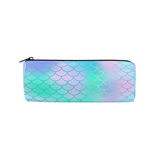 Round Pencil Case Bag Candy Color Magic Mermaid Fish Scale Pattern Multi FunctionSchool Supplies Organizer Pouch Bag with Zipper Closure