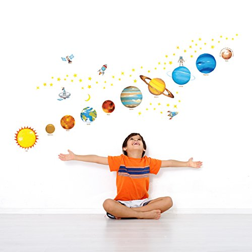 Decowall DS-8007 Planets in the Space Kids Wall Stickers Wall Decals Peel and Stick Removable Wall Stickers for Kids Nursery Bedroom Living Room (Small)