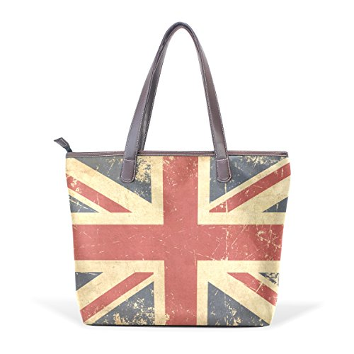 Large Handle Patern Women Shoulder Flat UK Ladies Handbag Bennigiry Bags Aged Top Tote Z6vOx