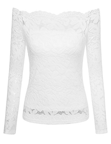 Lace Blouse, Women's Off Shoulder Long Sleeve Blouse Flower Picnic Paty Formal T-Shirt Medium White