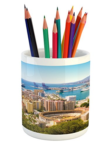 Lunarable Landscape Pencil Pen Holder, Aerial View of Malaga with Bullring and Harbor Spain Traditional European City, Printed Ceramic Pencil Pen Holder for Desk Office Accessory, Multicolor by Lunarable