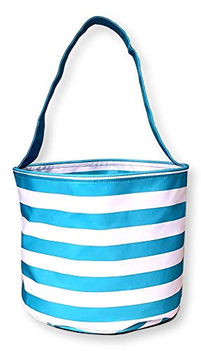 Fabric Bucket Tote Bag for Children - Toys - Easter Basket - Can Be Personalized (Turquoise Stripe) (Chardonnay Willow Basket)