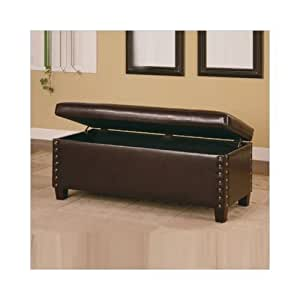 broadbent leather bedroom bench with storage and pin trim in deep brown garden
