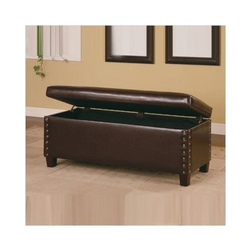 Amazon.com: Broadbent Leather Bedroom Bench With Storage And Pin Trim In  Deep Brown: Garden U0026 Outdoor
