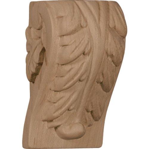 Ekena Millwork CORW01X01X03BARO-CASE-2 1 3/4 inch W x 1 2 inch D x 3 inch H Mini Acanthus Leaf Block Corbel, Red Oak -