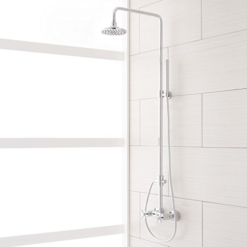 Naiture Brass Exposed Pipe Shower System With Rainfall Shower Head And Hand Shower In Chrome Finish
