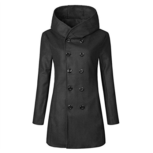 Kanpola Damen Parka Winter Warm Mit Kapuze lang MantelJacke Daunenjacke Trenchcoat B-schwarz