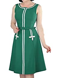 Women's Plus Size 1960s Vintage Crew Neck Sleeveless A-line Midi Dress with Belt