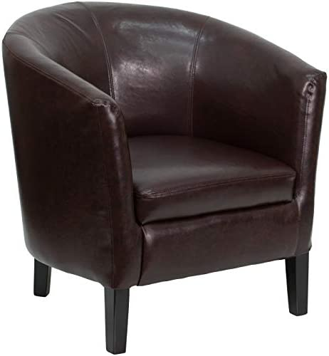 Flash Furniture Brown LeatherSoft Barrel Shaped Guest Chair