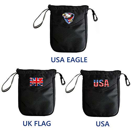 Clip Valuables Pouch - FINGER TEN Golf Valuables Pouch Bag Clip Zipper Hook to Bag, with Free 4 Pcs Golf Pencil Value Pack, Travel Gear Style USA Eagle UK Flag (USA Eagle)