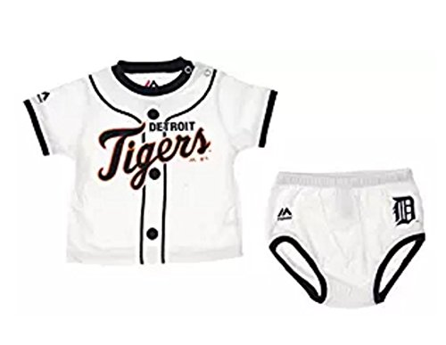 (MLB Detroit Tigers Infants Baby Boy Player Tee & Bottom Set, White (12 Months))