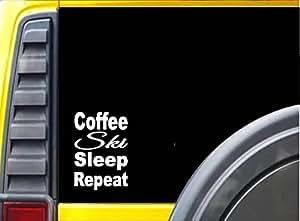 Coffee Ski Sleep K816 8 inch Sticker skiing decal