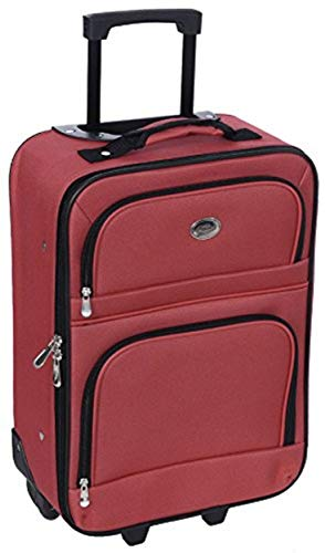 Jetstream 18 Inch Lightweight Luggage Softside Carry On Suitcase (Red)