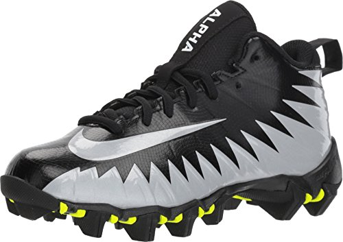 Nike Boy's Alpha Menace Shark BG Football Cleat Wide Black/Metallic Silver/White Size 3 M US