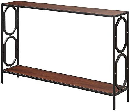 Convenience Concepts Omega Metal Console Table, Cherry Black