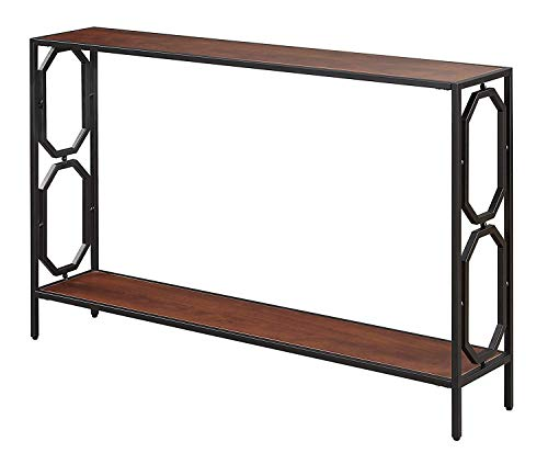 Convenience Concepts Omega Metal Console Table, Cherry / Black (Console Metal Table Wood)