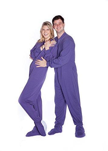 Jersey Knit Footed Pajamas (Big Feet Pjs Purple Jersey Knit Adult Footed Pajamas No Drop Seat)