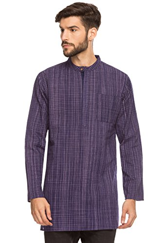 Dye Check Shirt - Shatranj Men's Indian Mandarin Collar Mid-length Tunic Kurta Space-Dye Checks; Purple; MD