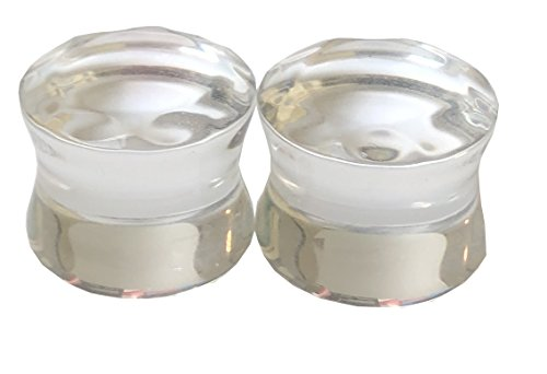 The Madd Hatter Clear Glass Faceted Double Sided Flare Gauges/Plugs/Solid Saddle (1 Pair) (5/8 (16mm))