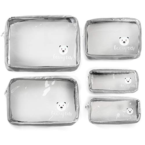 Beary Tidy 5 Piece Diaper Bag Organizer Pouch Set, Clear with Zippers and Nestable