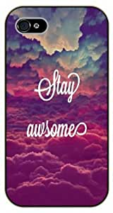 iPhone 5 / 5s Stay awesome, clouds, black plastic case / Inspirational and motivational life quotes / SURELOCK AUTHENTIC