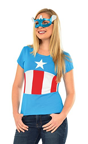 Rubie's Costume Co Women's Marvel Universe American Dream Classic T Shirt, Multi, (Marvel Superheroes Costumes)