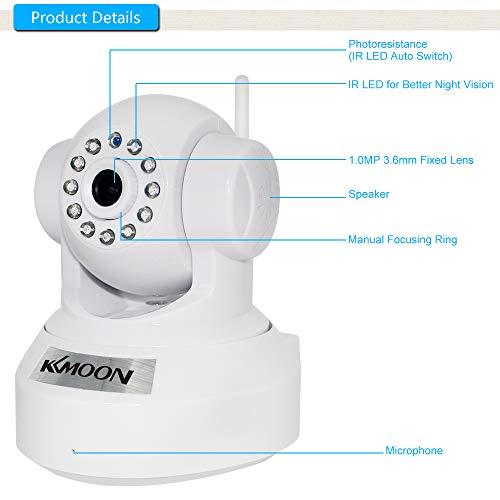 KKMOON HD 1.0MP Wireless Security Camera WiFi Camera IP Camera PnP P2P Pan Tilt Camera Video Camera IR Cut WiFi Wireless Megapixel Surveillance Camera Network IP Webcam