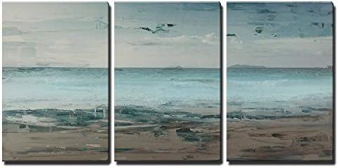 Seascape with Beach Horizon Wall Decor x3 Panels
