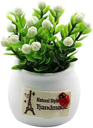 JIESD-Z - Maceta de Flores Artificiales, Mini Plantas Artificiales de plástico, césped Verde Artificial de Plantas con macetas para decoración del hogar, Oficina o Coche, Blanco, 5.5 X 9 CM: Amazon.es: Hogar