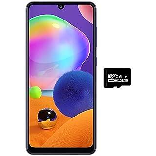"Samsung Galaxy A31 (128GB, 4GB) 6.4"" FHD+, Quad Camera, 5000mAh Battery, Dual SIM GSM Unlocked US + Global 4G LTE International Model - A315G/DSL (Prism Crush White, 128GB + 128GB SD + Case Bundle)"