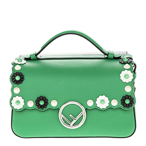 Fendi Women's Double Micro Baguette with Flower Studs Green