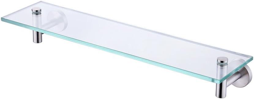 KES 20-Inch Glass Shelf Bathroom Storage Organizer Shelf with 8 MM-Thick Tempered Glass and Brushed Nickel Rustproof Metal Bracket Wall Mount Rectangular, A2021-2 - -