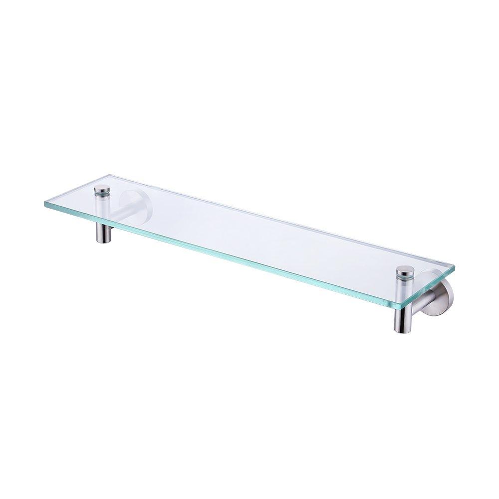 KES mensola in vetro 50,8 cm –  organizer portaoggetti scaffale con 8 mm di spessore vetro temperato e nichel spazzolato metallo staffa di montaggio a parete rettangolare, A2021 –  2 A2021-2 KES Home