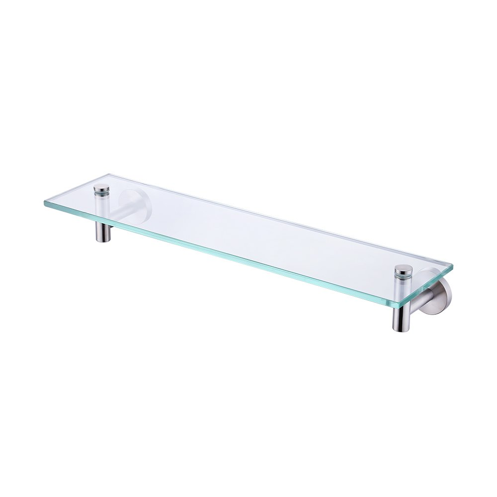 KES 20-Inch Glass Shelf Bathroom Storage Organizer Shelf with 8 MM-Thick Tempered Glass and Brushed Nickel Metal Bracket Wall Mount Rectangular, A2021-2 by Kes